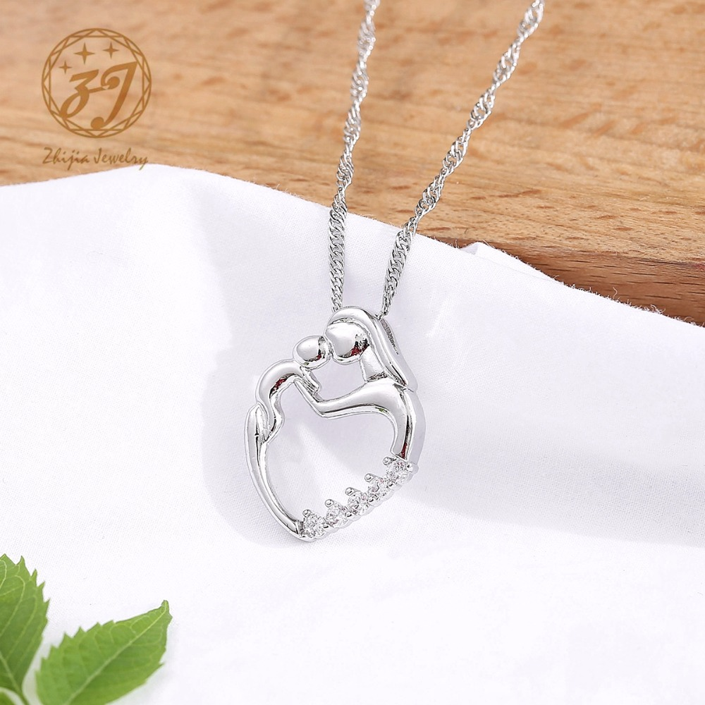 Nueva llegada regalos de moda plata mosaico collar de circón madre y - Bisutería - foto 3