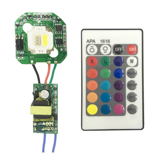 1set 15W RGB RGBW White Chip LED + Dimmable IR Board + 24 keys Remote Control + Power Supply AC 110V ~ 220V or DC 12V LED Driver