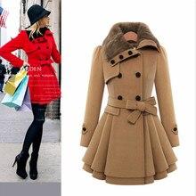 Шерстяное Женское пальто с меховым воротником и длинным рукавом черного, красного, синего цвета, Женская шерстяная куртка с поясом, зимние пальто для женщин