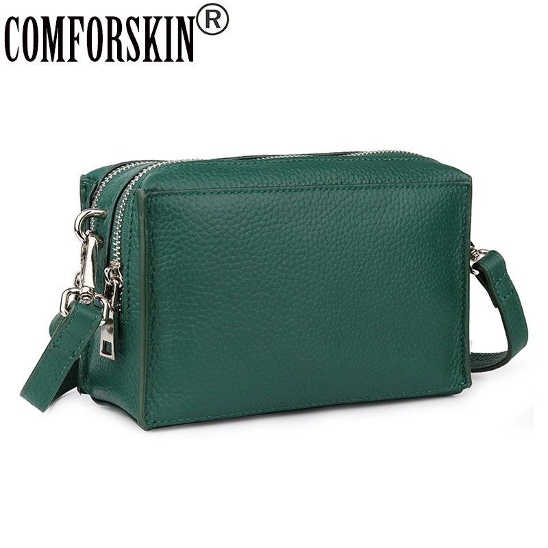 COMFORSKIN High Quality 100% Cowhide Leather Handbag Double Zippering Compartment Messenger Bags Brand Women Cross-body Bag 2019COMFORSKIN High Quality 100% Cowhide Leather Handbag Double Zippering Compartment Messenger Bags Brand Women Cross-body Bag 2019