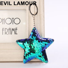 Cute Sequins Keychain Glitter Cat Bear Star Key Ring For Women Charms Car Bag Accessories Key Chain Christmas Gifts(China)
