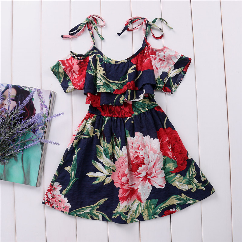 e0d2738d73 Baby Girls Summer Off shoulder Dress Skater Dress Kids Floral Summer Party Dresses  Cute Casual Clothes 2 7 Year-in Dresses from Mother & Kids on ...