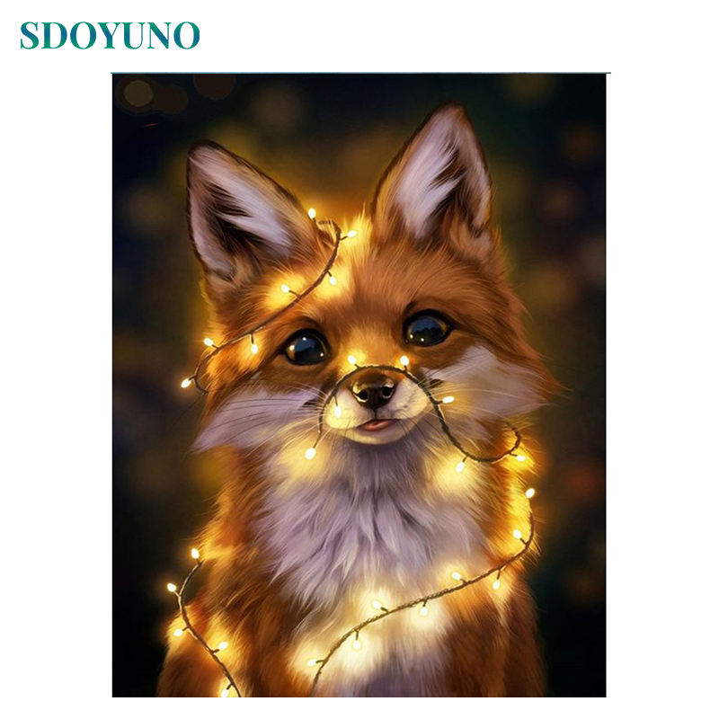 SDOYUNO Frame DIY Painting By Numbers Light Fox Animals Drawing By Numbers Modern Wall Art Painting & Calligraphy For Home Decor