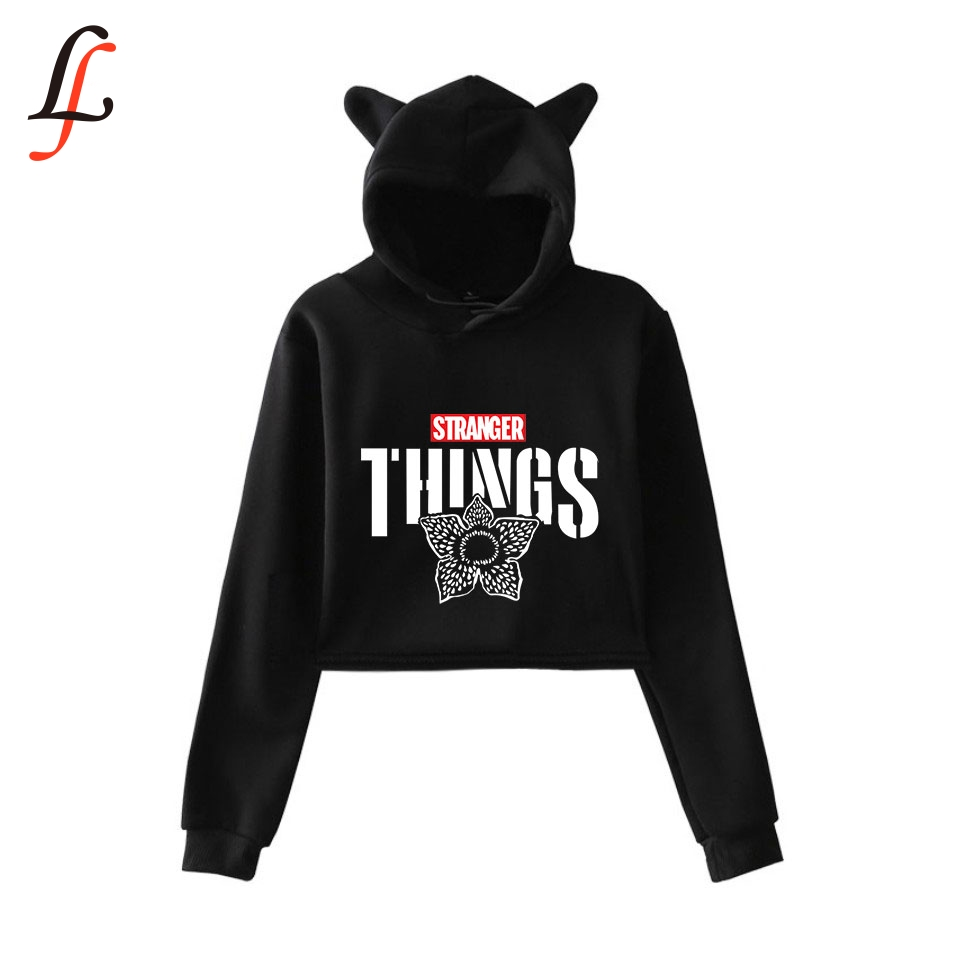 Strange Story New Cat Ear <font><b>Cap</b></font> <font><b>Sexy</b></font> Hoodies Fashion Trend Cat Crop Top Women Hoodies Sweatshirt Harajuku <font><b>Sexy</b></font> Hot Kpop Clothes image