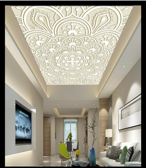 High Quality Custom Ceiling Wallpaper Murals European Zenith Painting Embossed Marble Wall Decor