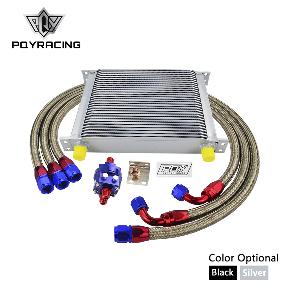 UNIVERSAL OIL COOLER 30 ROWS AN10 OIL COOLER KIT +OIL FILTER ADAPTER + NYLON STAINLESS STEEL BRAIDED HOSE W/ PQY STICKER+BOX цена