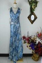 Arlenesain custom blue leopard silk deep V collar sexy slim dress.