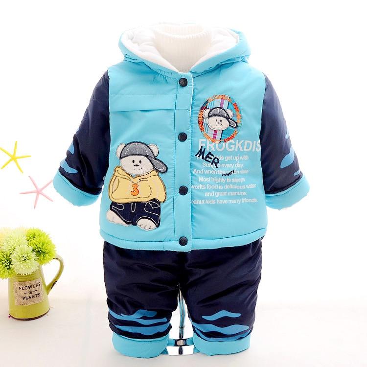 new 2017 baby boy winter kids boys cotton-padded clothing set coats+pants warm with velvet jacket kid's fashion cartoon clothes 2pcs set baby clothes set boy