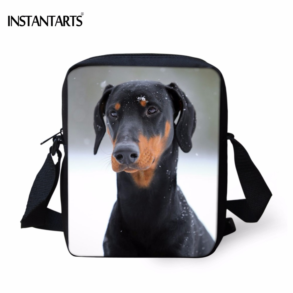 INSTANTARTS Funny 3D Doberman Dog Printing School Bags Boys Girls Kindergarten Students Mini Bookbags Childrens Crossbody Bag