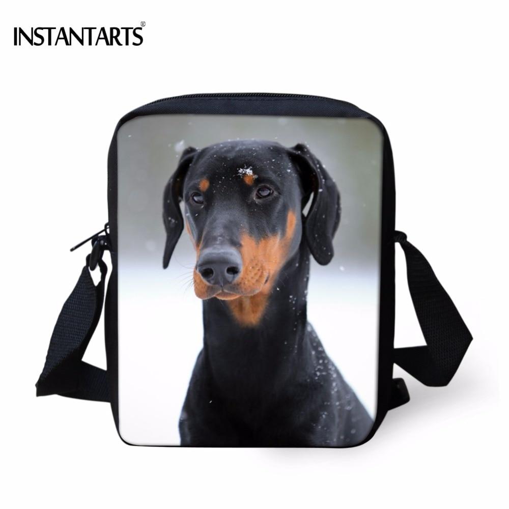 INSTANTARTS Funny 3D Doberman Dog Printing School Bags Boys Girls Kindergarten Students  ...