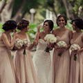 Champagne Bridesmaid Dresses One Shoulder Sweetheart Ruched A line Chiffon Plus Size Bridesmaid Dress Long Party Dress