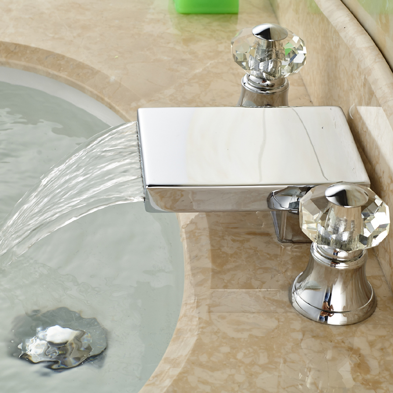 ФОТО Contemparary Widespread Brass Waterfall Basin Sink Faucet Dual Handles Deck Mount Mixer Taps