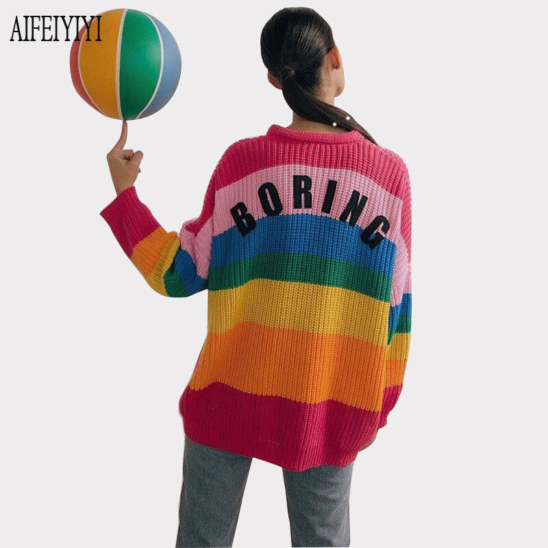 2019 Spring Fashion Korean Women Rainbow Oversized Cardigan Long Knitted Sweater Cape Tops Femme Warm Sweaters Sueter Mujer