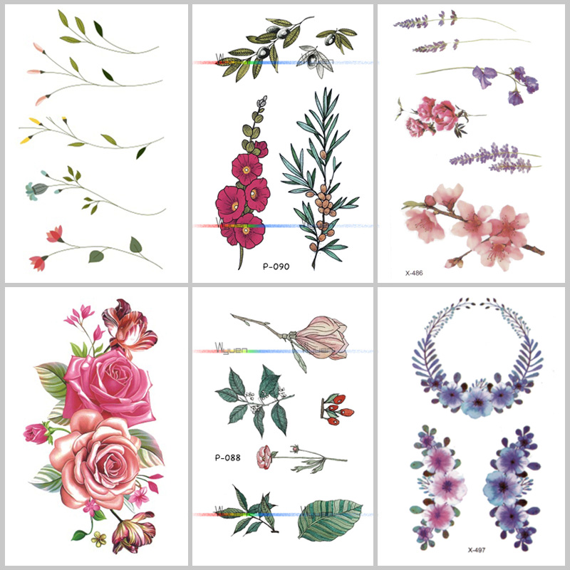 Wyuen Flower Rose Waterproof Temporary Tattoo Sticker For Adults Kids Body Art Women New Design Water Transfer Fake Tatoo P-108(China)