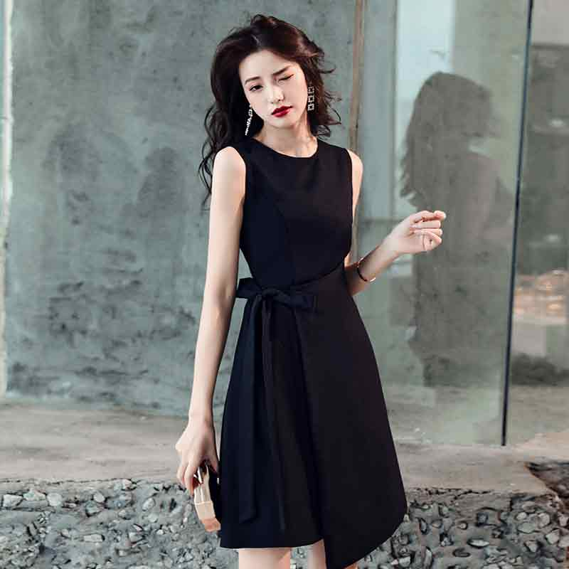2019 sexy round neck Sleeveless simple fashion party dress Slim glamour Short evening dresses formal dress women elegant in Evening Dresses from Weddings Events