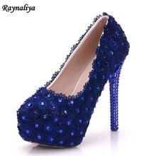 Blue Lace Flower Wedding Shoes Rhinestone 14cm Ultra High Heels Platform Shoes Women's Single Bridal Dress Shoes XY-A0003 цена