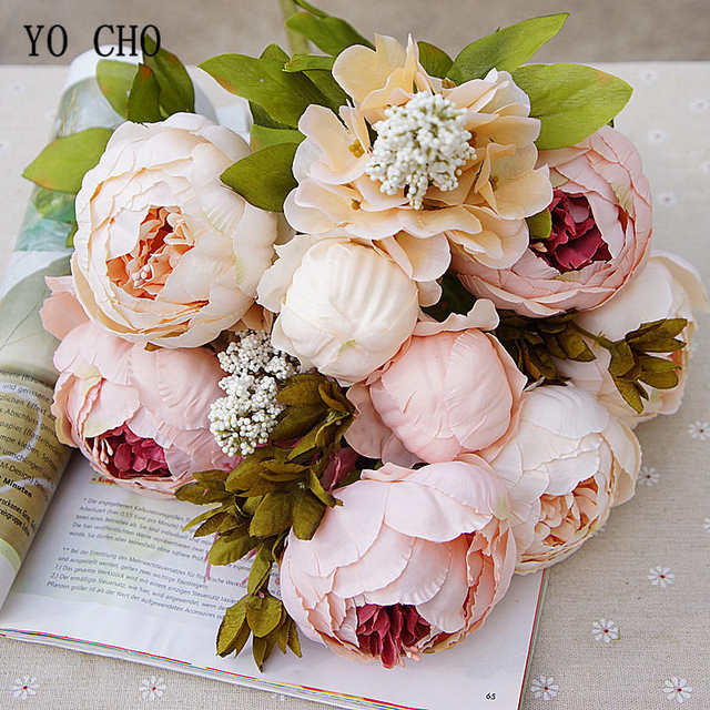 Peonie Bouquet Da Sposa.Yo Cho Bride Wedding Bouquet Artificial Silk Peony Bouquet Diy