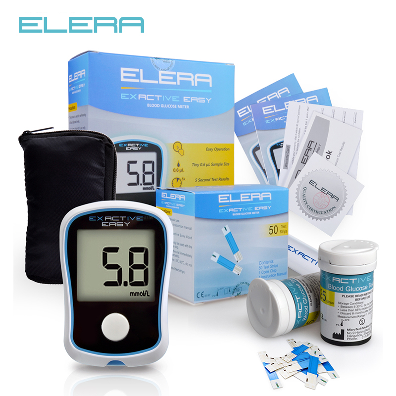 ELERA Blood Glucose Meters Diabetics Test glycuresis Monitor blood Glucometer medidor de glicose 50 Strips +50 Needles cofoe yice 100 pcs test strips and 100pcs needles lancets only strips without device for diabetes blood collection medical tools