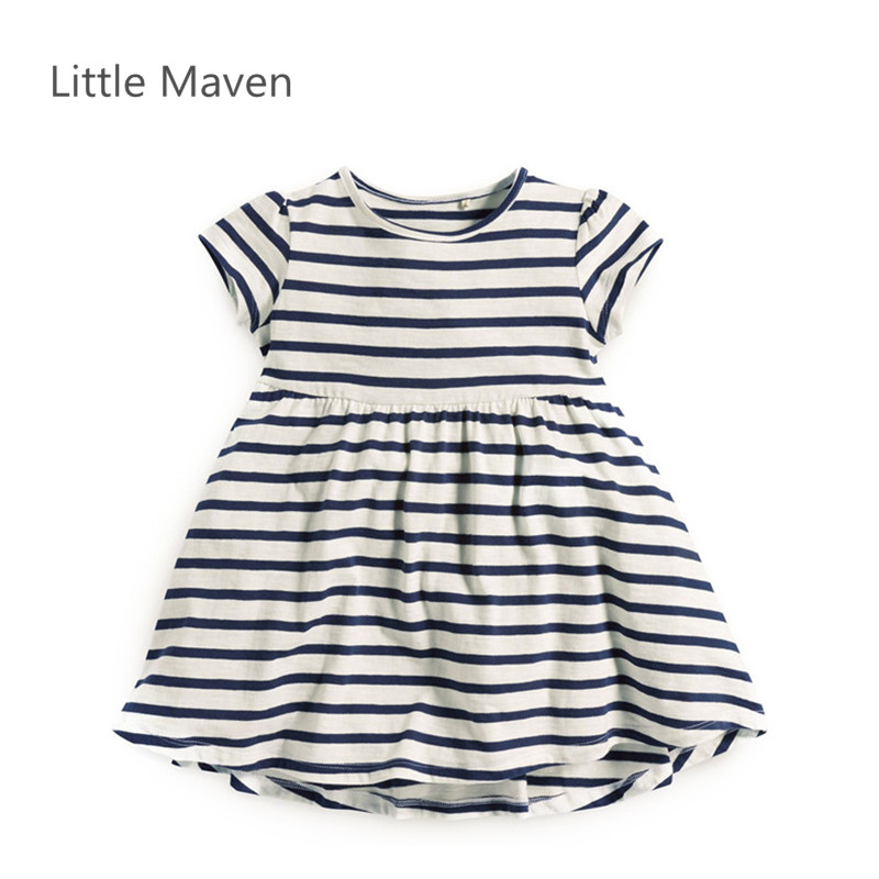 Little Maven Brand Girls New Summer Blue Striped O-neck Short Soft Knitted Cotton Causal Beach Dresses little maven brand new girls autumn spring long sleeved o neck fashion rabbits printed cotton cute casual dresses