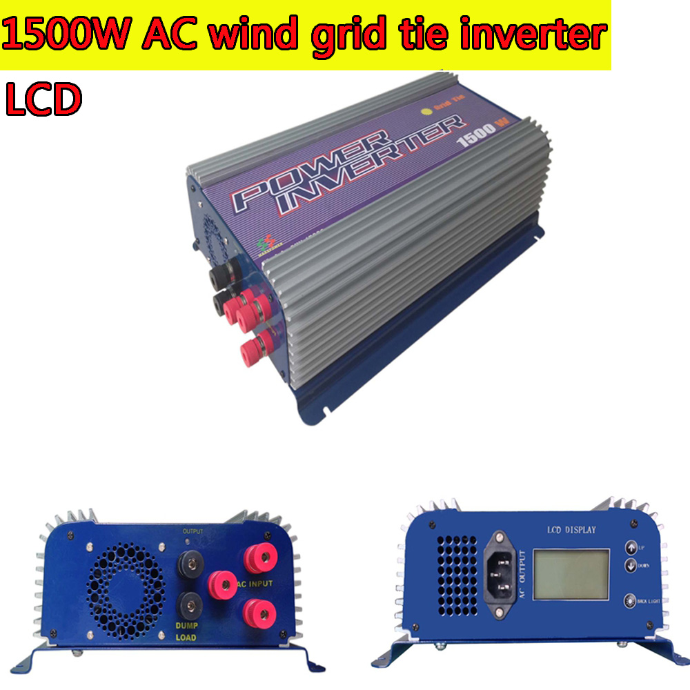 1500W Grid Tie Inverter with Dump Load for 3 Phase AC Wind Turbine Grid Tie Inverter 45-90V Input LCD MPPT Pure Sine Wave NEW maylar 300w wind grid tie inverter for 3 phase 24 48v ac wind turbine input 22 60v output 90 260v 50hz 60hz no need controller
