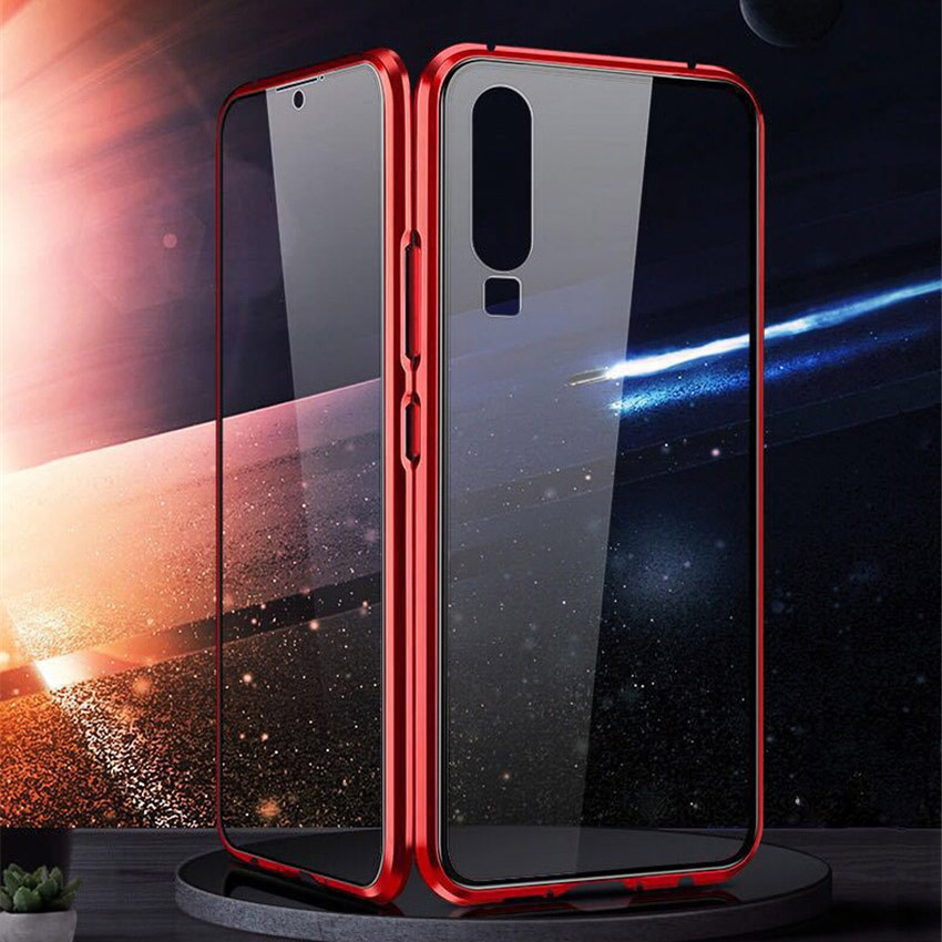 R-just Magnetic Metal Bumper Case for Huawei P30 Lite Tempered Glass Front Back Cover (4)