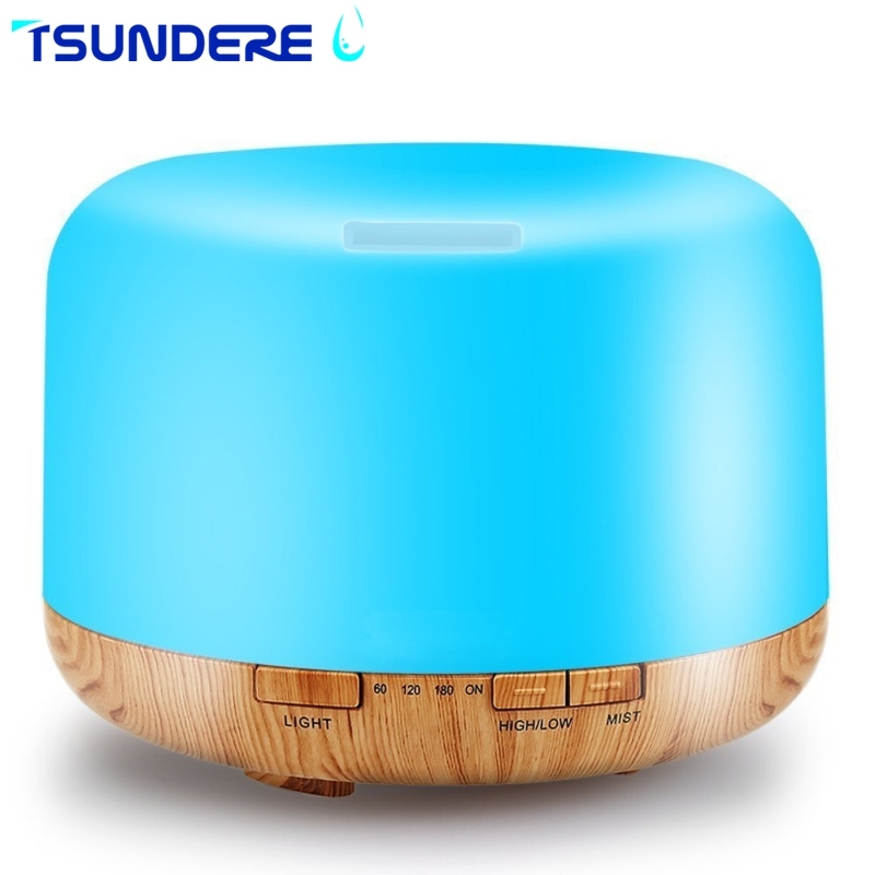 TSUNDERE L 500ML Essential Oil Diffuser  Cool Mist Humidifier Ultrasonic Aromatherapy Diffusers 7 Color Changing Light цены онлайн