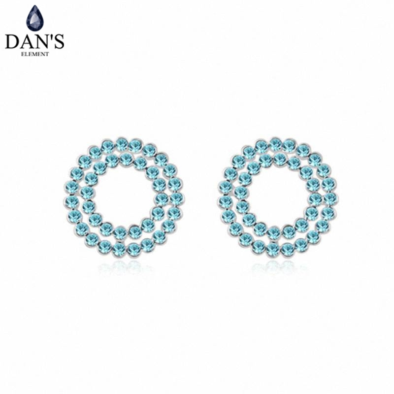 DANS Colors Real Austrian crystals Stud earrings for women Earrings s New Sale Hot Round 95294