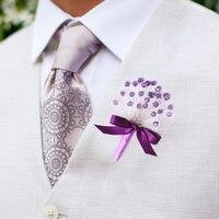 El yapımı özel Mor damat corsages, İyi adam yaka çiçekleri, lavanta tüyler broş erkek elbise kristal İnci Korsaj