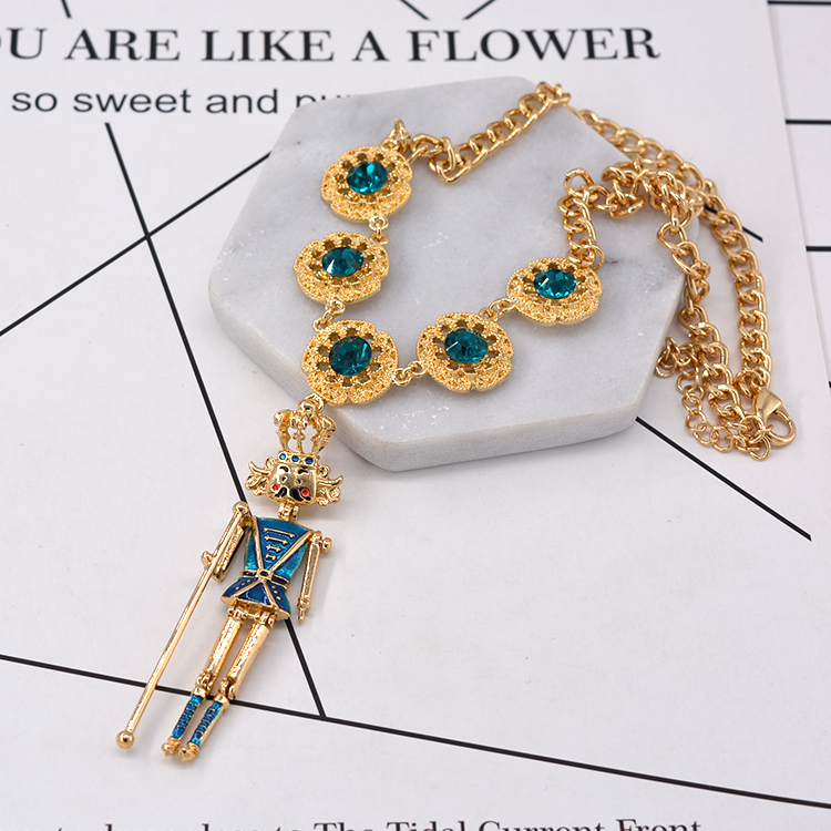 autumn and winter Baroque King doll shape necklaces Korean metal personality fashion sweater chains jewelry