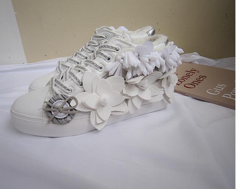 Dimensions Et Trois Cuir Coréenne Plus En Automne La Fleur Blanc Version Visage Chaud Velours Perlé Aider D'hiver Chaussures Haute De Nouveau 76PTxq