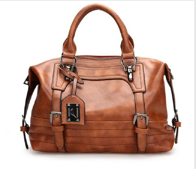 Wholesale Brown Pu Leather Duffle Bags ,Faux Leather Tote Accessory Crossbody Organizer Weekend Totes DOM-1010811