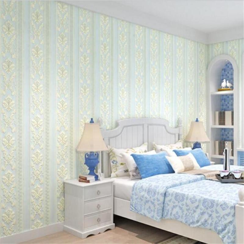 ФОТО Beibehang European - style Damascus wallpaper non - woven 3D luxury three - dimensional bedroom living  TV background wallpaper