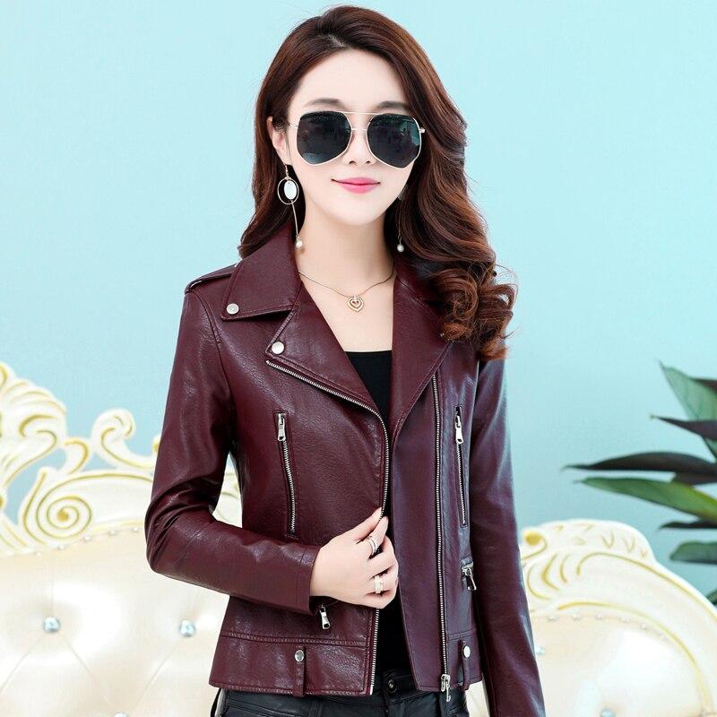 Women Faux   Leather   Jacket 2018 New Spring Ladies Slim Short PU   Leather   Basic Jacket Zipper Motorcycle Coat Female Outerwear