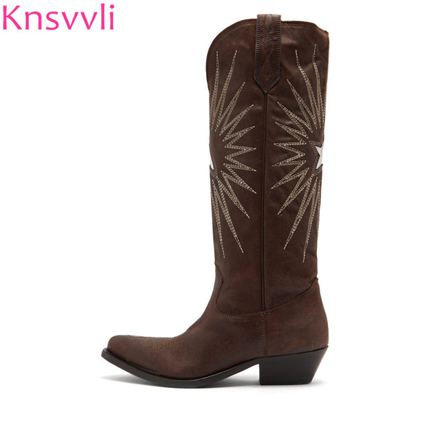 19f3122a4ca US $91.0 35% OFF|Knsvvli new style genuine leather electric embroidery knee  high boots woman brown black pointy toe women cowboy long booties-in ...