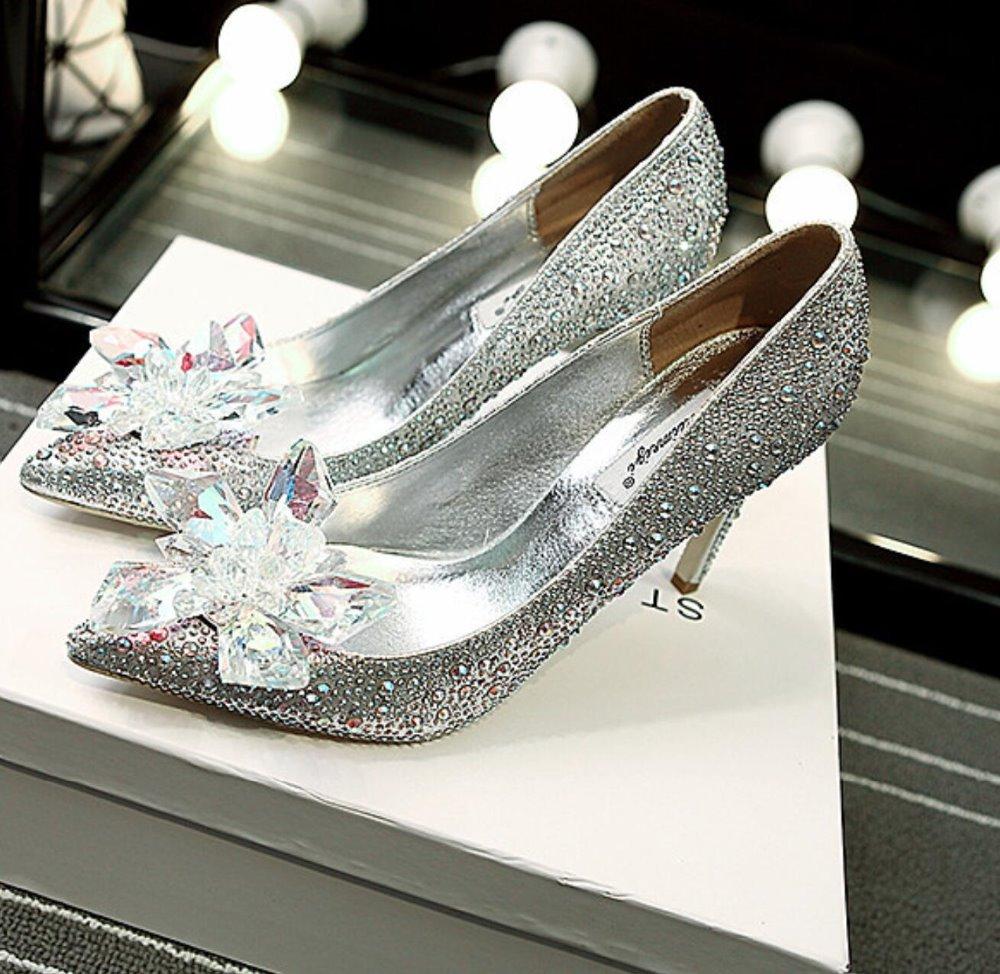 Original wedding shoes woman Shanda Cinderella glass slipper leather retro Bridal  Shoes crystal high heels shoes 38e904beb58b
