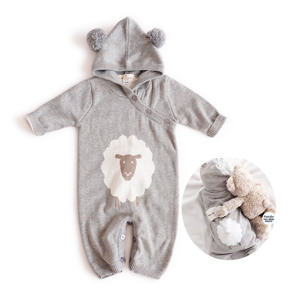 2017 Fall Winter Cute sheep Knitting Romper Newborn Baby boy clothes Long Sleeve Patchwork Toddler Kids Jumpsuit Clothes 6-18M puseky 2017 infant romper baby boys girls jumpsuit newborn bebe clothing hooded toddler baby clothes cute panda romper costumes