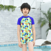 Boys Print swimwear one piece suits with swimming cap short sleeve swimsuit infant children 2018 new Kids 1-9 Year bathing suit