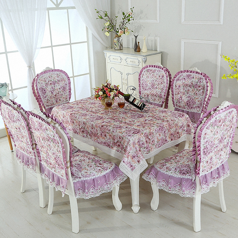 Elegant showy quilted dining purple table cloth thick chair covers cushion backrest restaurant dress soft supple lace tablecloth