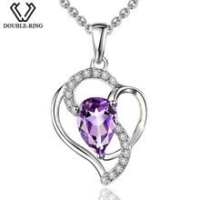 4c7be3639e7b DOUBLE-R 925 Collar de plata femenina forma de pera 0.61ct amatista natural  colgante romántico Día de San Valentín regalo verdad.