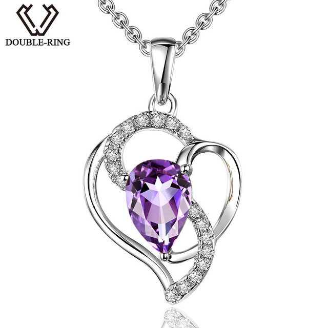 DOUBLE-R 925 Silver Necklace Female Pear Shape 0.61ct Natural Amethyst Pendant Romantic Valentine'S Day Gift Real Lover jewelry