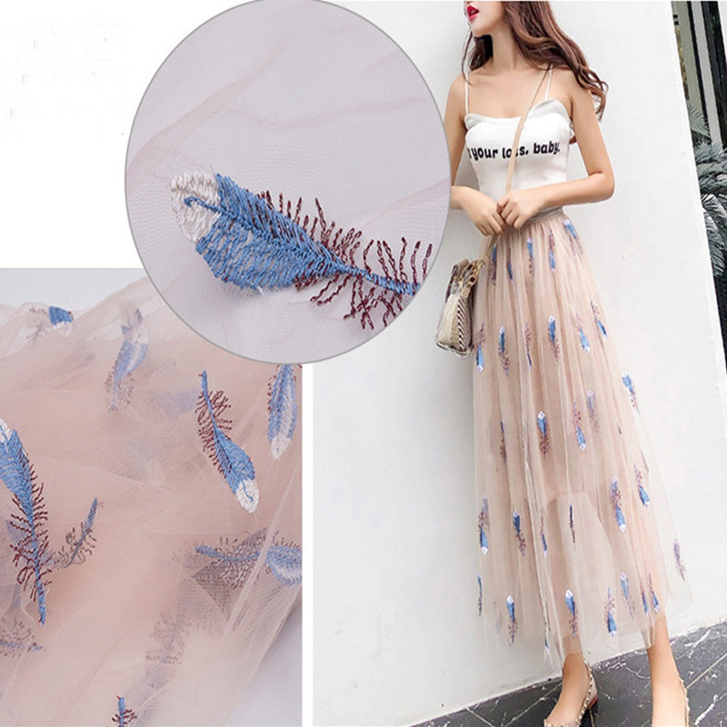 Mesh feather embroidered embroidered cloth Polyester silk embroidered fabric Spring and summer fashion halter top dress embroide