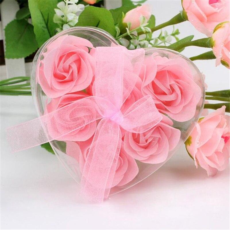 6pcs Beatutiful Scented Rose Flower Petal Bath Body Soap Wedding