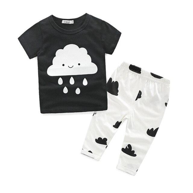 2016 Новая Мода Baby Boy Одежда С Коротким рукавом Футболка + Брюки Девочка Одежда Хлопок Летом Детская Одежда Наборы