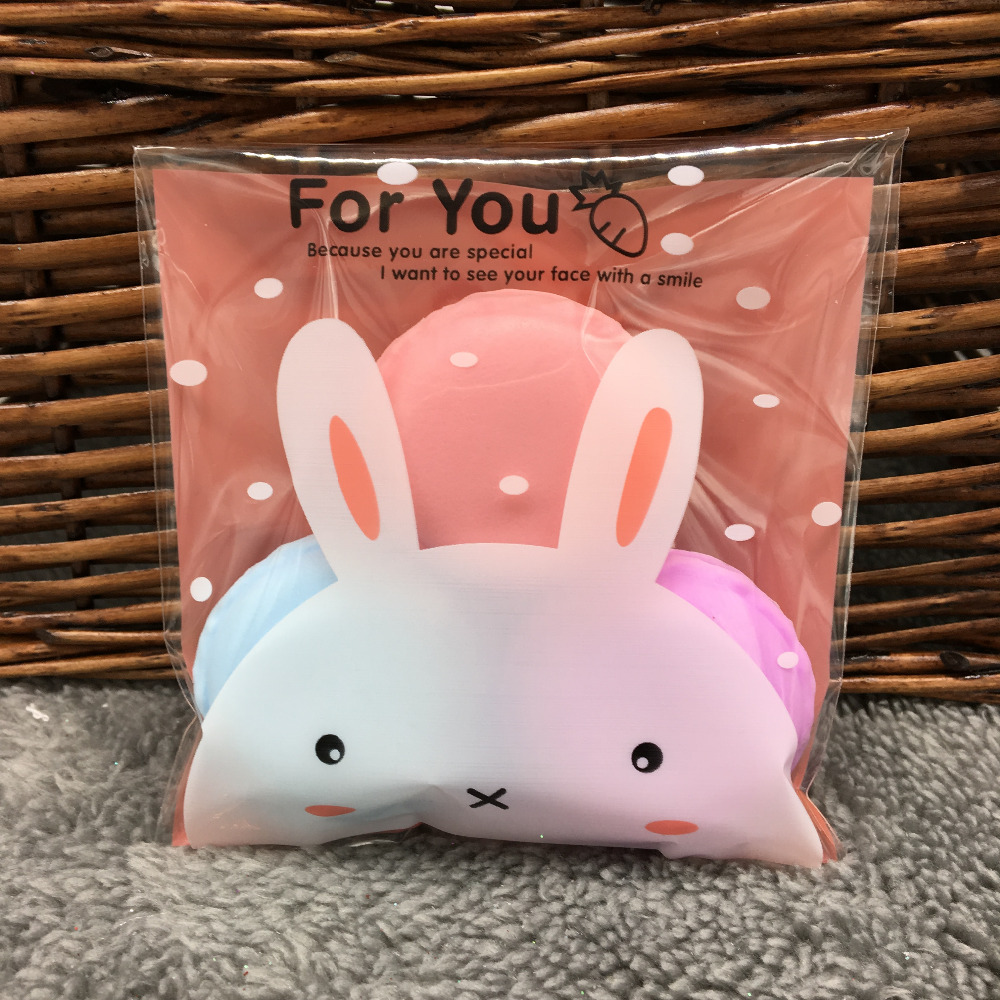 Plastic bag for you - 50 Pcs Lot 10x10cm Pink Rabbit Cookie Packaging Clear Plastic Bags Self Adhesive Bags