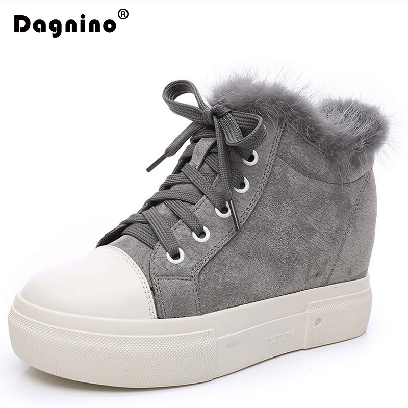 DAGNINO New Autumn Moccasin Woman Casual Creepers Shoes Rabbit Hair Flats Loafers Genuine Leather Platform Cotton Sneakers Women manresar 2017 new pu leather shoes creepers platform flats casual shoes sapato feminino walking trainners white footwear shoes