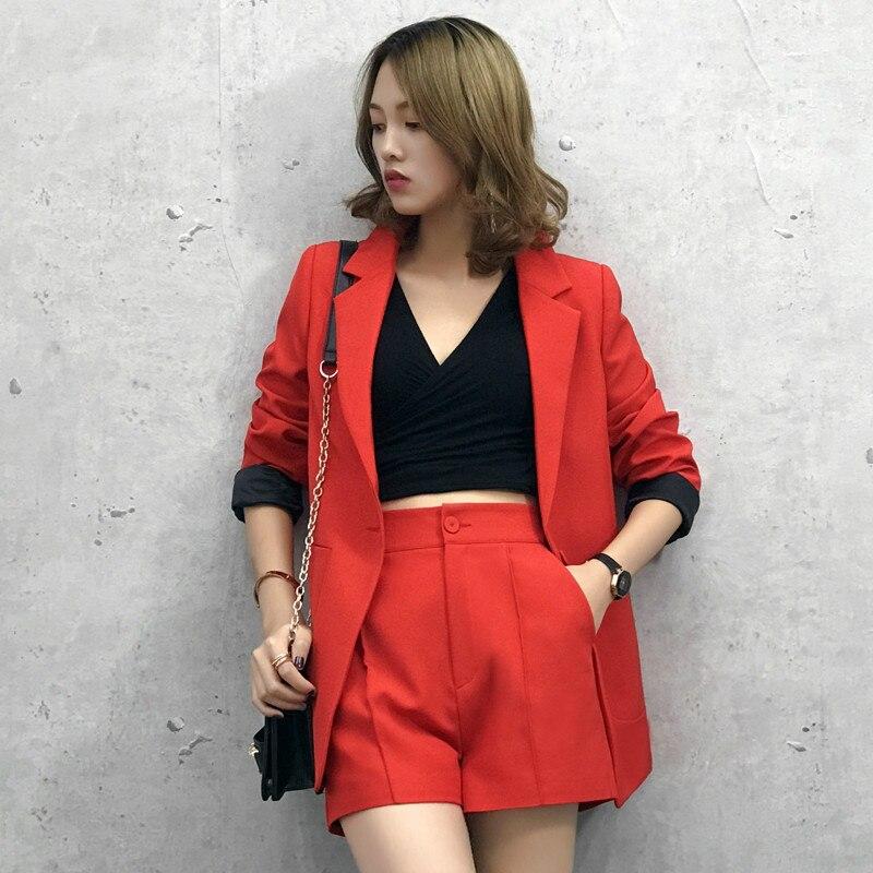 Pak pak nieuwe Koreaanse commuter klein jasje losse casual shorts twee sets vrouwen kleding-in Sets voor dames van Dames Kleding op  Groep 1