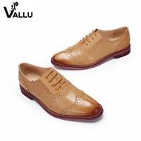 2018 VALLU Women Brogue Shoes Oxfords Genuine Leather Lace Up Handmade Vintage Women Flats Shoes Plus