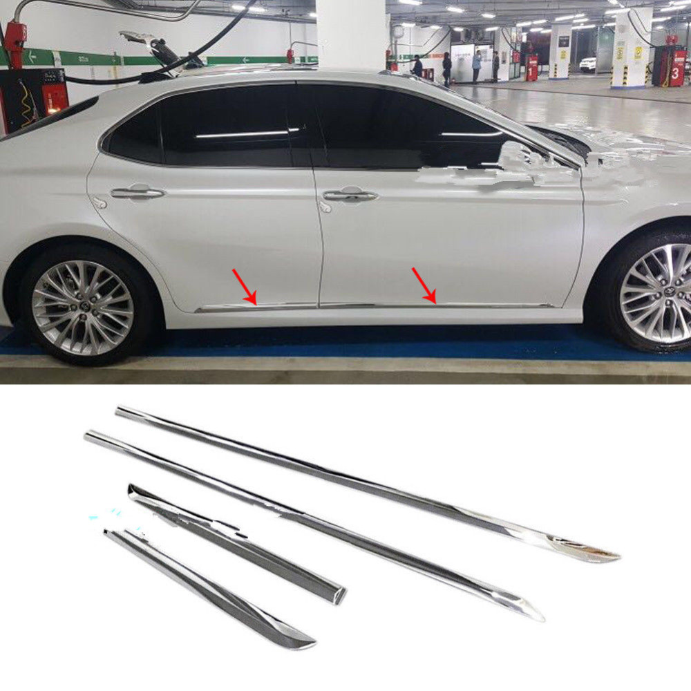 4pcs Chrome ABS Car Body Side Door Molding line Cover Trim Garnish fit Toyota Camry 2018 цены онлайн