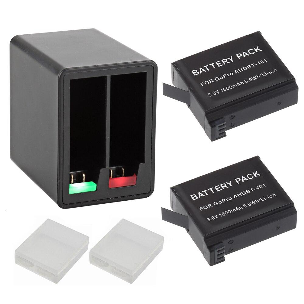 Новый 2x1600 mAh AHDBT-401 Для Gopro Hero 4 Батареи Go Pro Hero4 bateria AHDBT 401 + Dual USB Зарядное Устройство Аксессуары Действий камеры