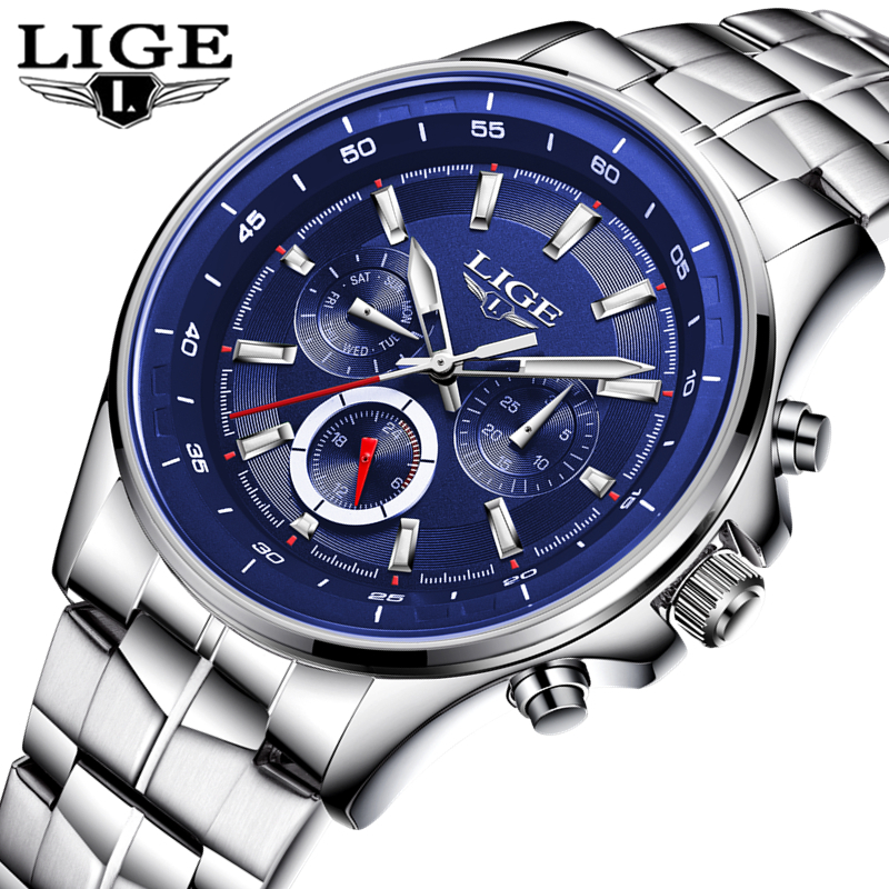 Top Brand Luxury Mens Watches LIGE Military Sports Quartz Watch Men's Business Leather Waterproof Chronograph Relogio Masculino